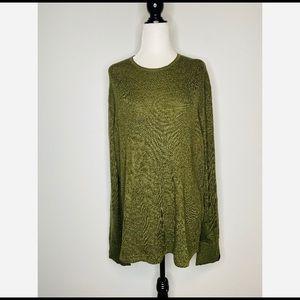 rag & bone Olive Green sweatshirt wool linen blend